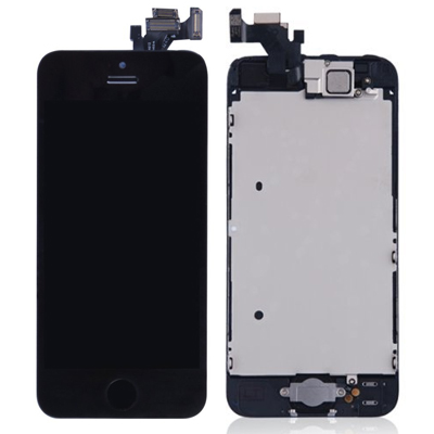 iPhone 5 Komplettdisplay Schwarz (Digitizer, LCD, Home Button, Front Kamera, Metallplatte)